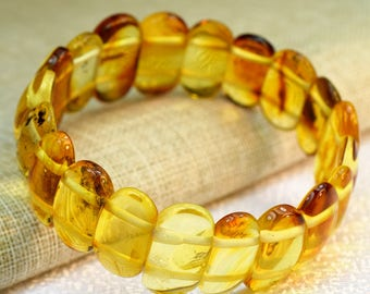 Amber bracelet for adults. Amber bracelet. Baltic amber, Baltic amber lemon bracelet, Amber bracelet, Lemon Baltic amber, Unique color amber