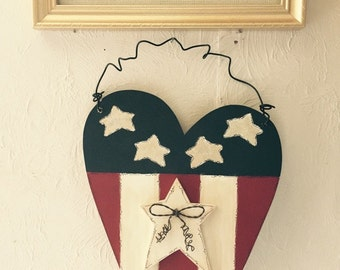 American Flag Heart hanging decor