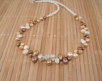 Caramel Cream Pearl Necklace Chocolate Pearl Cluster Necklace Statement 20 inch Multicolor Freshwater Pearl Necklace for Her Holiday Artisan
