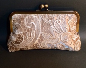 Bridal Clutch | Bridesmaid Clutch | Champagne with Venice Lace Overlay Clutch CUSTOMIZE