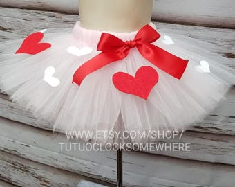 Pick Your Colors! Customizable Valentine's Day Tutu Skirt, Pink Tutu Skirt, Tutu With Hearts, Valentine's Tutu, First Valentine, Hot Pink