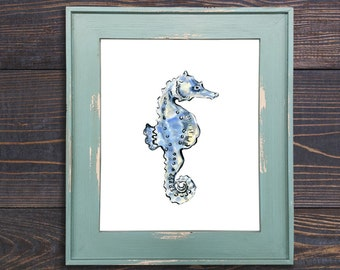 Seahorse Print, Seahorse, Fish Art, Seahorse Wall Decor, Seahorse, Beach Art, Gray and Blue, Nursery Art, Kids Room, Watercolor Print