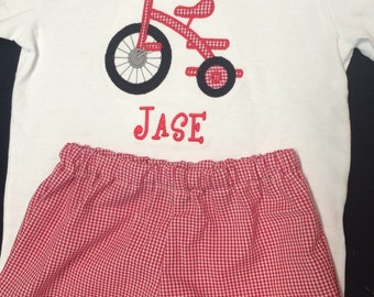 Baby Boy Appliqued Tricycle Shirt and Shorts Set Toddler Boy Short Set gingham Shorts Tricycle Applique