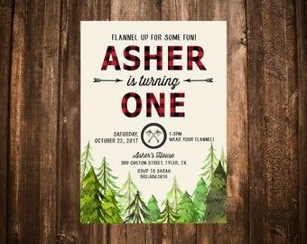 Lumberjack Birthday Invitation; Rustic; Red Buffalo Plaid; Printable or set of 10