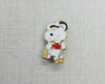 Aviva Vintage Snoopy on Rollerskates with Yellow Wheels and Red Shirt Pin  Enamel Cloisonne 1167