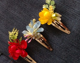 Flower Hair Clip, Flower Snap Clip, Bridal Hair Accessories, Gifts for Her, Gifts Under 15, Snap Hair Clips, Boho Hair Accessories