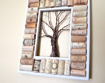 Wire Winter Tree Wine Cork board Message Board or Jewelry or Photo Holder