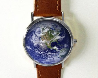 Earth watch etsy earth watch world globe planet earth space travel gift travel jewelry gumiabroncs Image collections