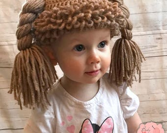 Cabbage Patch Doll Hair Infant Newborn Baby Toddler Sitter Beanie Hat Wig Crochet Photography Photo Prop Costume