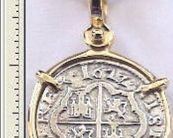 Replica Florida Piece Of Eight Cob Reale Pirate Silver Coin 14K Gold Bezel Dated 1622  Necklace Not Included