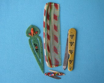4 Celluloid Curios c.1920s 1930s Comb Bookmark Nail File Tiny Pocket Knife Early Plastic Novelties