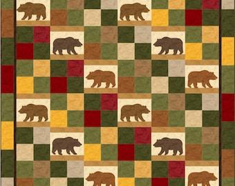Alpine Trails Bear Queen Quilt ePattern, 4694-1, bear quilt pattern, queen quilt pattern, queen quilt