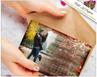 Rustic Fall Save the Date, Autumn Save the Date PRINTABLE Digital File or Printed 4x6 Postcard,  Calendar Photo Card, Fall Save the Date