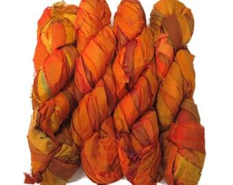 NEW! Recycled Sari Silk Ribbon, Irridescent Citrus