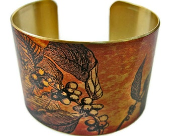 Coffee Branch cuff bracelet brass Gifts for her