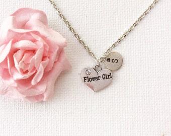 Silver flower girl Necklace, flower girl necklace, flower girl jewellery, flower girl gift, wedding gift, necklace for flower girl