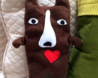 Coco ~ The Red Boston Terrier Bummlie ~ Stuffing Free Dog Toy ~ Ready To Ship Today