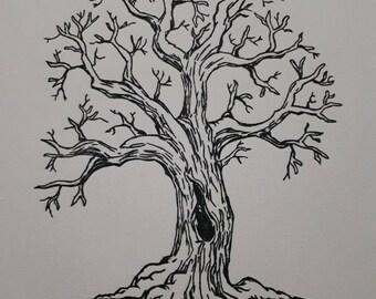 handmade watercolour tree painting