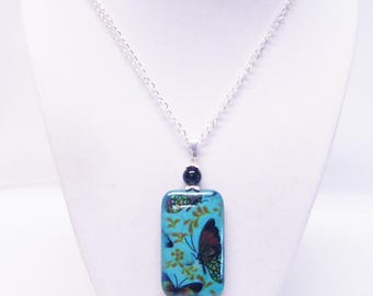 Large Turquoise Rectangle Bead w/Butterflies Pendant Necklace