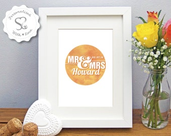 Personalised Watercolour Love Circle Mr & Mrs Wedding/Valentine/Special Anniversary/Picture Gift/Keepsake Print/Framed Print - FREE SHIPPING