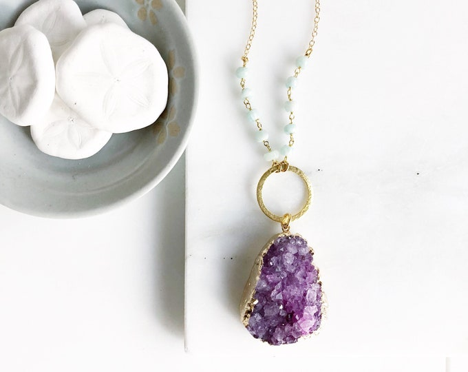 Long Purple Druzy Necklace. Purple Druzy and Amazonite Stone Necklace with Beaded Chain. Unique Jewelry Gift for Her. Gift. Druzy Quartz.