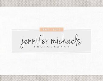 Premade Logo Design | Photography Logo | Peach and Gray | Pink and Black | Feminine Design | Minimalist Logo | Premade Blog Header