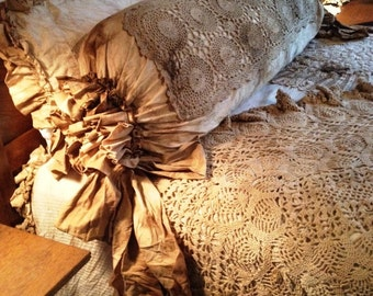 Bolster Pillow Body Sized Shabby Chic Junk Gypsy Steampunk Magnolia Pearl Lagen Look Neo Victorian Flash and Trash