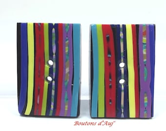 2 buttons rectangular ethnic stripes in bright colors