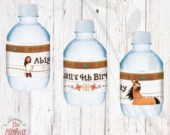 Spirit Water Bottle Labels - Birthday - Riding Free  - DIGITAL FILE