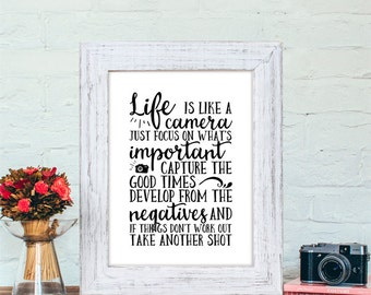 Instant Download, Life is like a camera, Print 8x10, Printable Quote, Typography, Inspirational Quote, Camera Decor