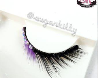 Blue / Purple Rhinestone False Eyelashes - SugarKitty Couture