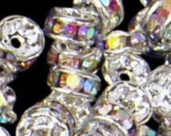 12pc - 4mm Rare Vintage Swarovski Crystal AB Rhinestone Round Baby Rondelle Bead Spacers