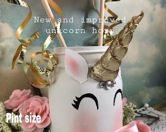 Giggling unicorn mason jar, pink and gold birthday party, unicorn centerpiece, birthday preset, pencil holders, makeup brush holder