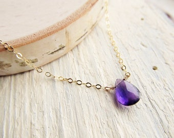 Genuine Amethyst Necklace, Gold Choker, 14kt Gold Filled Amethyst Pendant, Amethyst Teardrop, February Jewelry, February Birthstone Drop