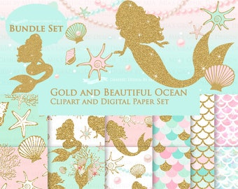 Gold Mermaid Clip Art + Digital Paper Set, Mermaid Digital, Seashell Clip Art + Digital Paper Set