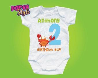 Under The Sea Birthday Shirt, Sea Party, Ocean Birthday, Beach Birthday, Boys crab Personalized shirt