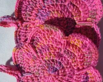 Pink Flower Pot Holders, Crochet Flower Trivets, Pink Hot Pads