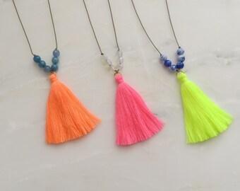 Neon Tassel Necklace (Anjuna Neon Tassel Necklace) Yellow Pink Orange Boho Festival Clubbing Summer Ibiza Gift Wrapped