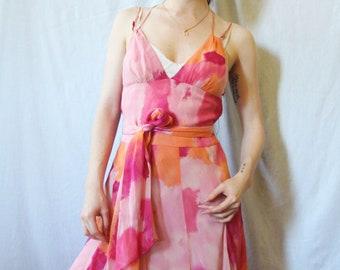 90s Tie Dye Silk Dress XS