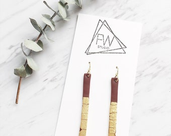 Clay Drop Earrings, Brown + Gold