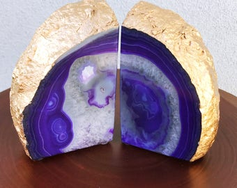 Purple Toned Agate Bookend / Geode Bookend Pair with gold painted Outside