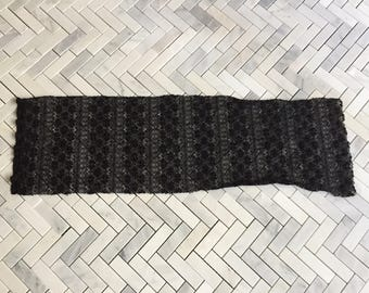 Black Knit Lace Fabric Remnant