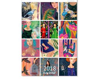 Calendar 2018, Wall Calendar DIN A4, Art Calendar, Art Calendar by Rita Wolff, Year Calendar