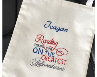 Book Tote  Bag, personalized  tote, Reading Tote