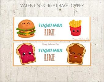 PRINTABLE Valentine  Treat Bag Topper for  school mate  / Valentine  Favor  Bag Toppers / Valentine Cards For Kids