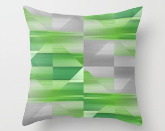 "Decorative Pillow Cover Throw Pillow Cover Green Grey Accent Pillow Cover Cushion Cover Home Decor 16"" 18"" 20"" Decorative Pillow Cover"