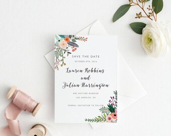 Printable Save The Date Printable - Romantic Botanical Wedding - Ready to Print PDF - Wedding Invites - Letter or A4 Size (Item code: P817)