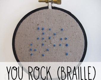 you rock Braille Embroidery Hoop. Art Embroidery Hoop Wall Art Hand Stitched Point System Raised Dots Finger Reading For The Blind