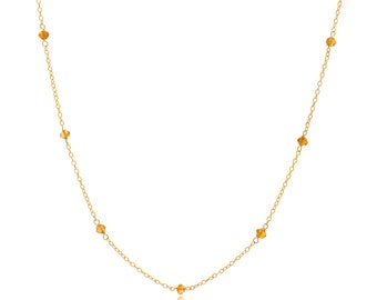 Delicate Gold and Citrine Chain Necklace - 24in. Necklace - 14k Gold Filled - Small Faceted Citrine Gemstones - Gold Chain