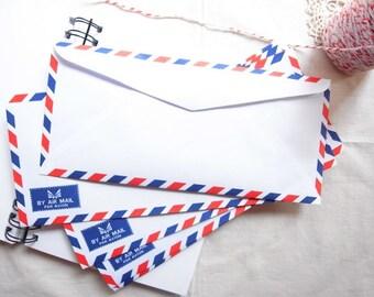 Set of 20 Classic Airmail Envelopes, Par Avion Envelopes 10.8cm X 23.5 cm
